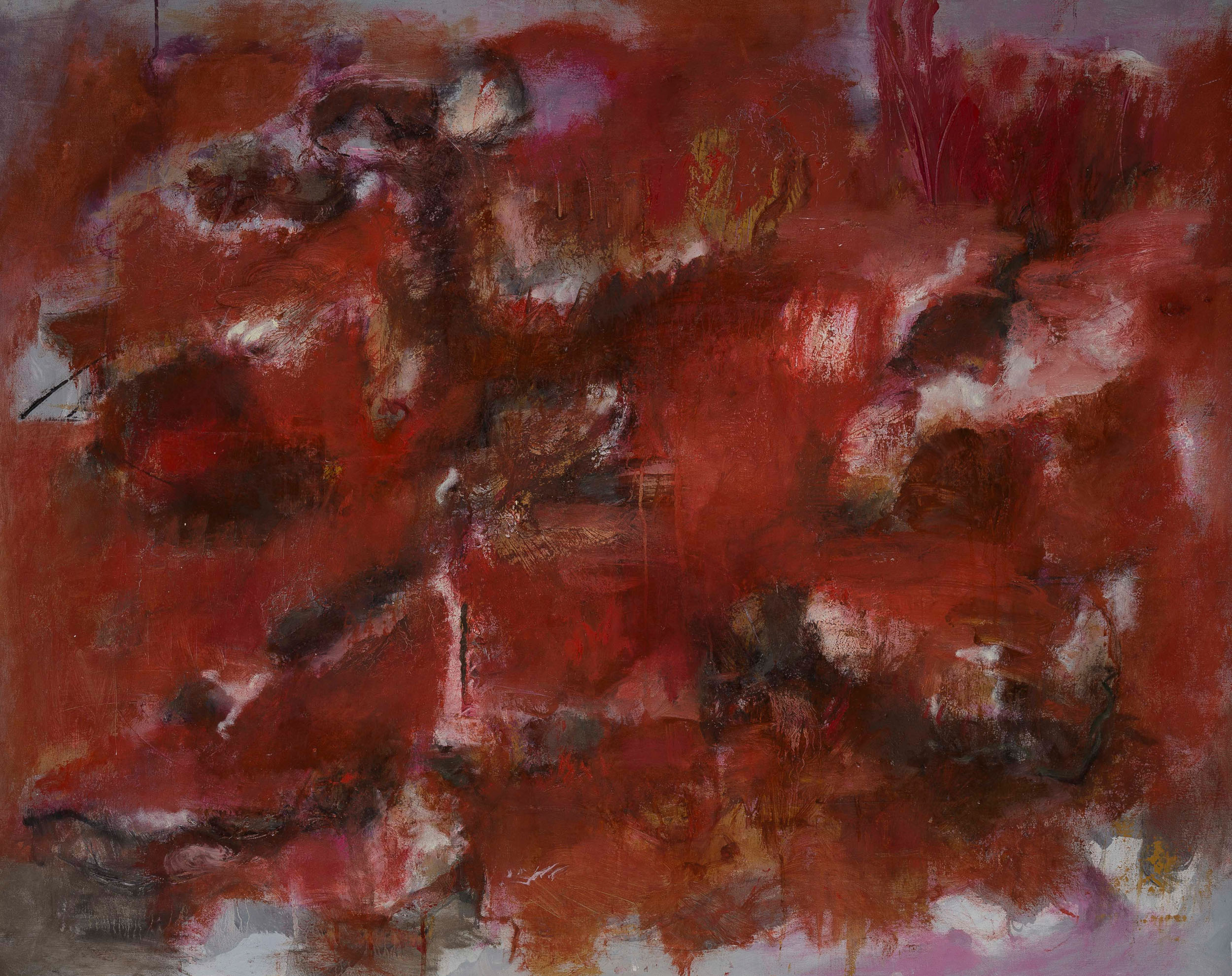 Red, red, red, 2016, oil on canvas, 28 x 36 inches