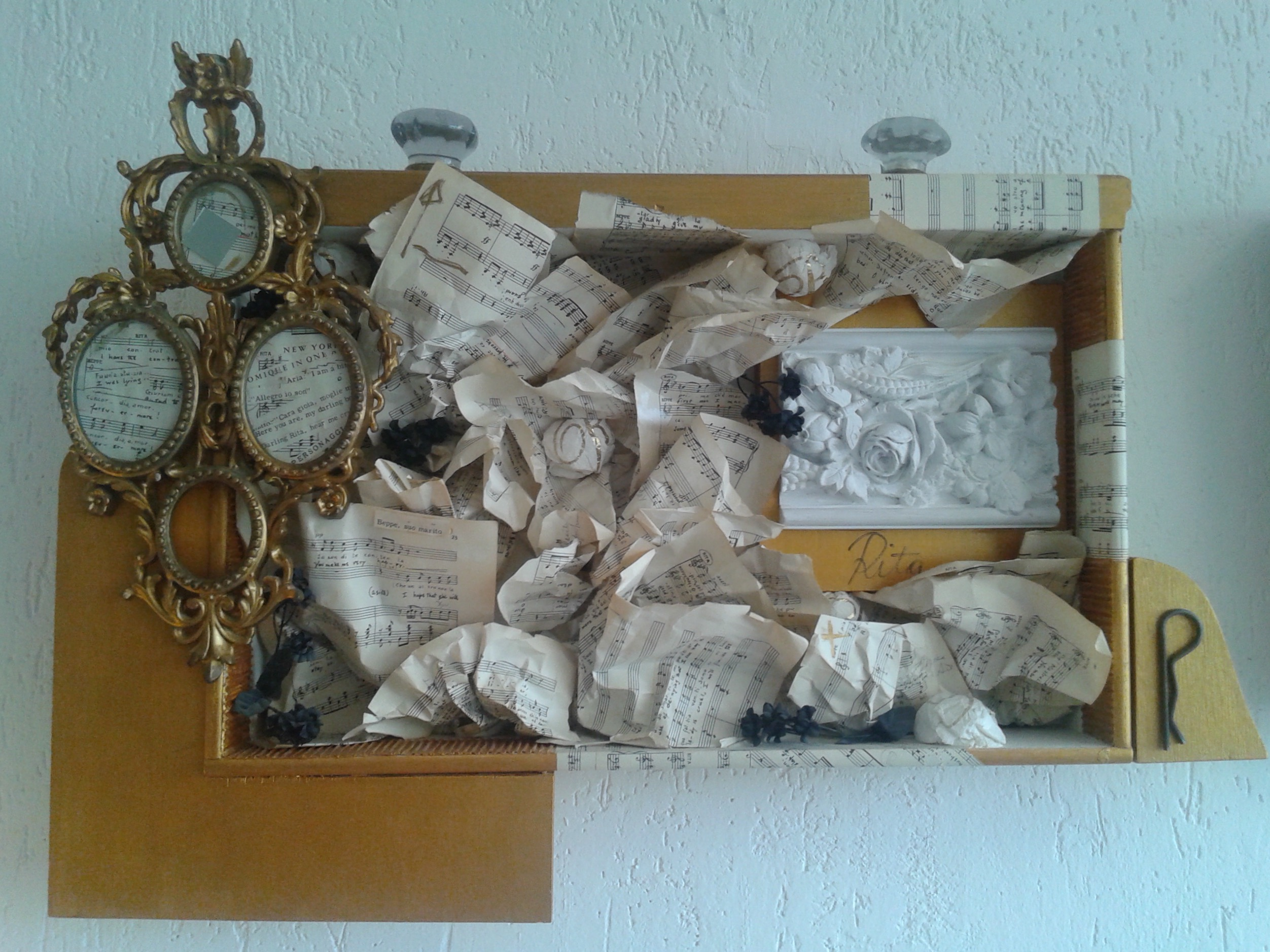 Mirror tirroir, triptych, assemblage, drawers, found objects, photos, 24 x 94 inches, 60 x 220 cm