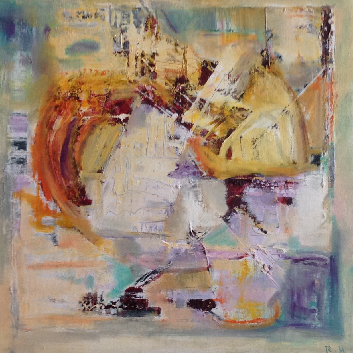 Construction, mixed media on canvas, 20 x 20 inches, 50 x 50 cm