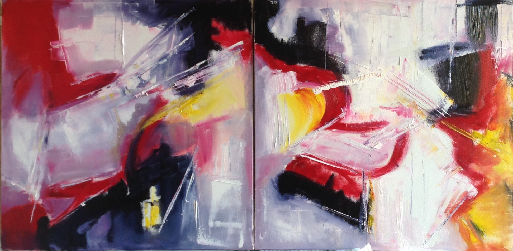 Untitled, diphtyc, oil on canvas, 20 x 40 inches, 50 x 100 cm