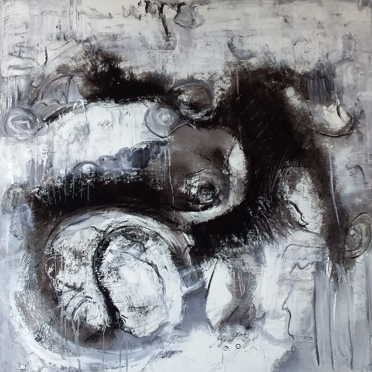 Spirals of de mind and soul, 2019, oil on canvas, 40 x 40 inches, 100 x 100 cm